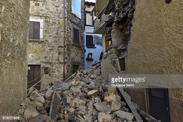 A general view of damaged buildings in the red zone in Trisungo Arquqta del Tronto following a massive earthquake this morning on October 30 2016 in...