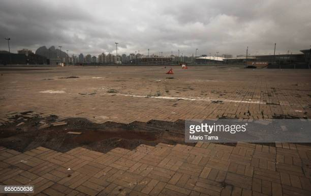 A general view of damaged flooring in the Olympic Park on March 18 2017 in Rio de Janeiro Brazil Seven months after the Rio hosted the first Olympic...