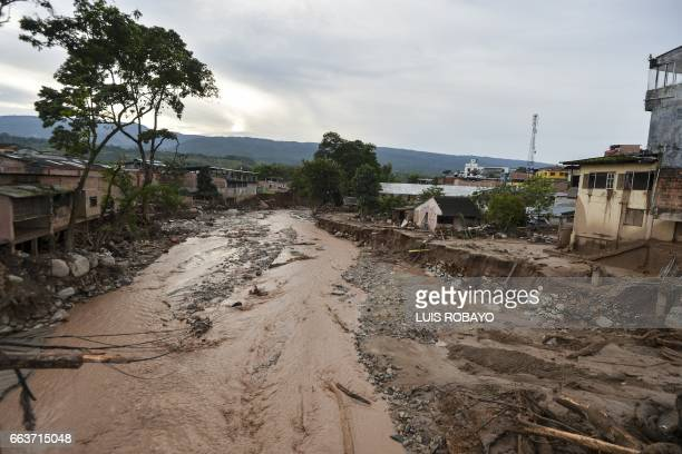 General view of damages caused by mudslides following heavy rains in Mocoa Putumayo department southern Colombia on April 2 2017 The death toll from...