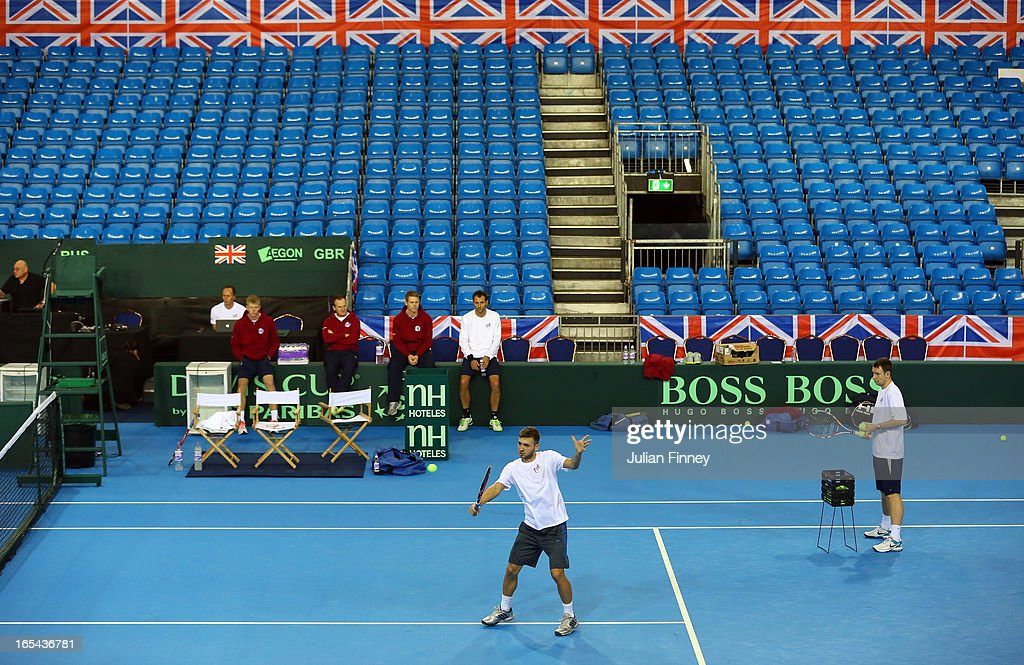 A general view of Daniel Evans of Great Britain in a practice session during previews for the Davis Cup match between Great Britain and Russia at the Ricoh Arena on April 4, 2013 in Coventry, England.