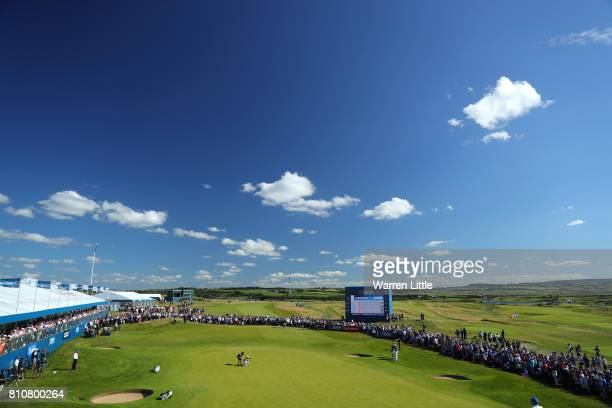 General View of Daniel Im of the United States on the 18th green during day three of the Dubai Duty Free Irish Open at Portstewart Golf Club on July...