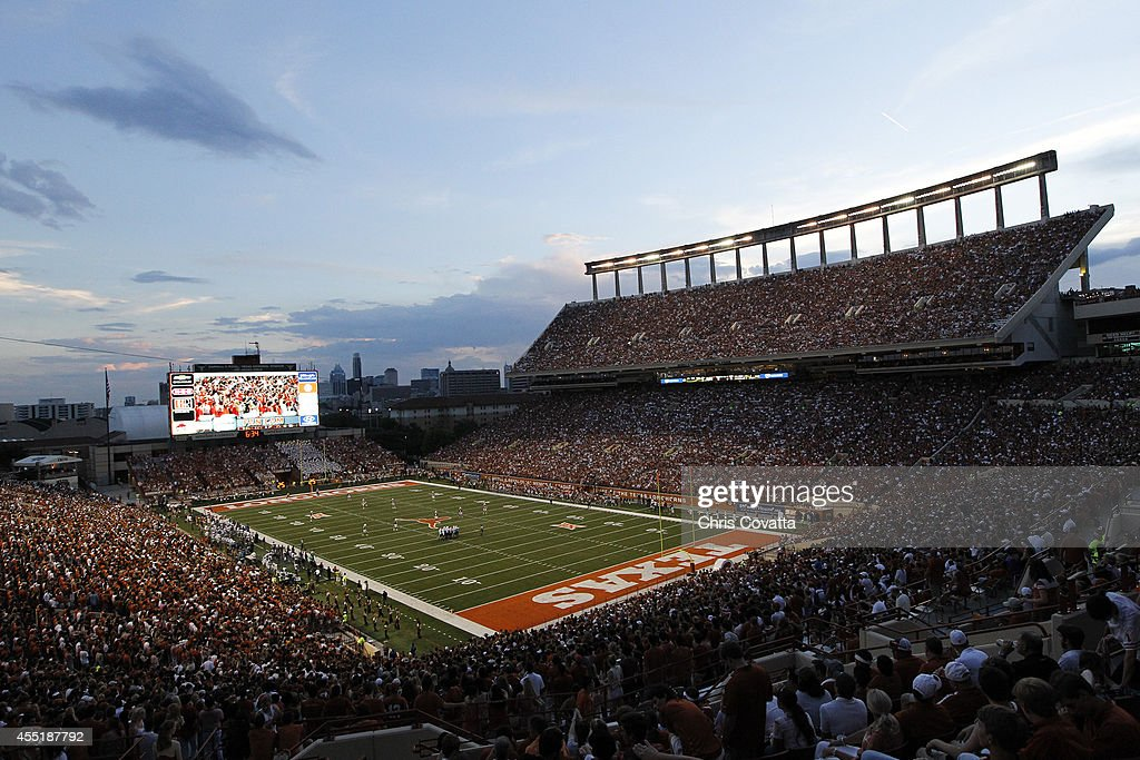 A general view of Darrell K RoyalTexas Memorial Stadium as the BYU Cougars play the Texas Longhorns on September 6 2014 in Austin Texas