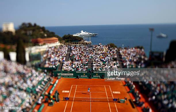 A general view of David Ferrer of Spain playing a forehand to Rafael Nadal of Spain in the final during Day Eight of the ATP Masters Series Tennis at...