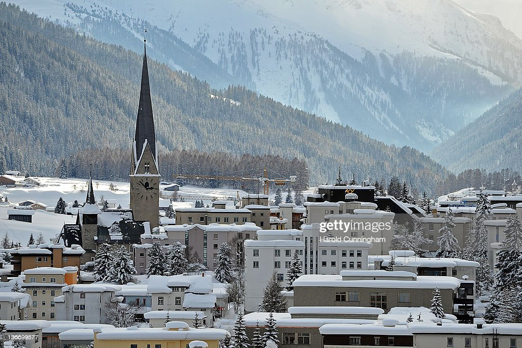 A general view of Davos and its St. John's Church on January 10, 2012 in Davos, Switzerland. The World Economic Forum, which gathers the World's top leaders, runs from January 25 - 29.