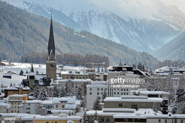 A general view of Davos and its St John's Church on January 10 2012 in Davos Switzerland The World Economic Forum which gathers the World's top...