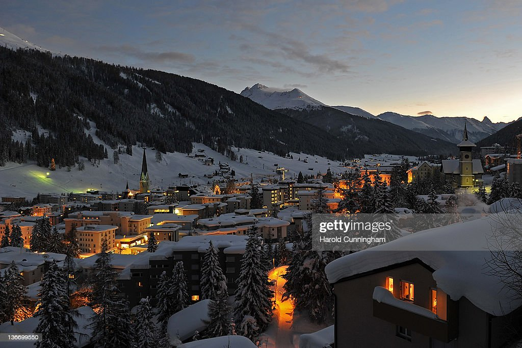 A general view of Davos at dusk on January 10, 2012 in Davos, Switzerland. The World Economic Forum, which gathers the World's top leaders, runs from January 25 - 29.