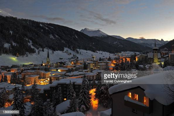 A general view of Davos at dusk on January 10 2012 in Davos Switzerland The World Economic Forum which gathers the World's top leaders runs from...