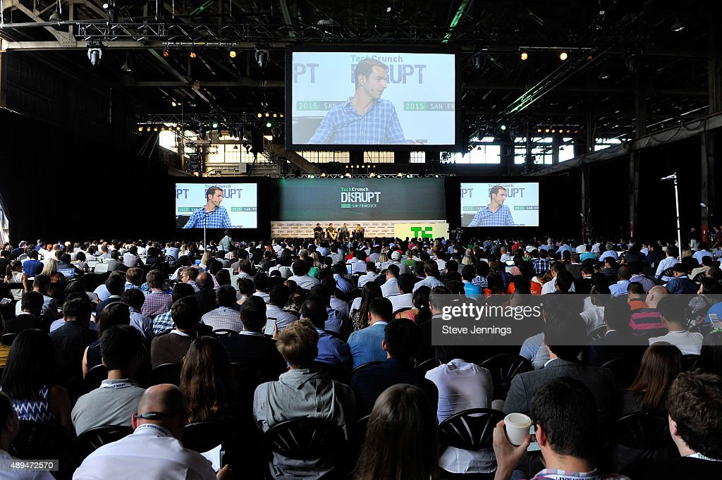 A general view of day one of TechCrunch Disrupt SF 2015 at Pier 70 on September 21 2015 in San Francisco California