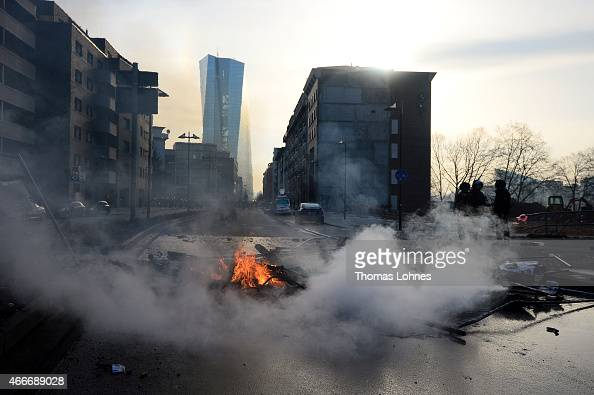 A general view of debris after activists took part in a demonstration organized by the Blockupy movement to protest against the policies of the...