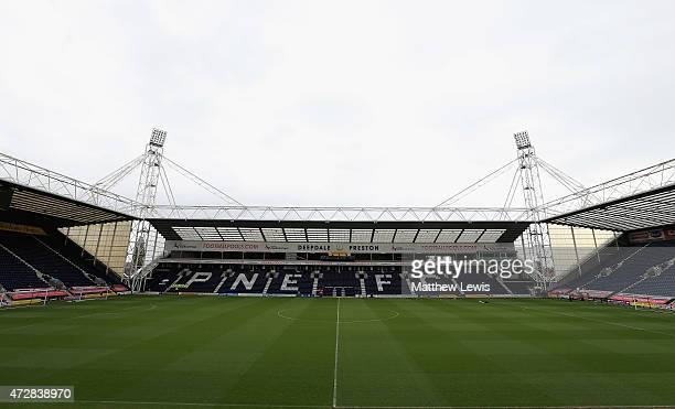A general view of Deepdale ahead of the Sky Bet League 1 Playoff SemiFinal match between Preston North End and Chesterfield at Deepdale on May 10...