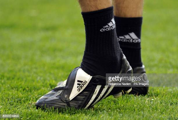 A general view of detail on Steven Gerrard's boots during a Training Session at Stamford Bridge London