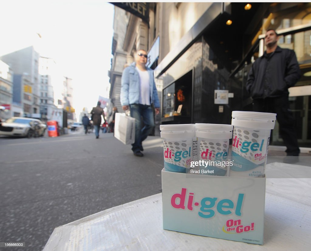 A general view of di-gel a new antacid as di-gel Helps New Yorkers 'Undo' Black Friday Shopping Troubles on November 23, 2012 in New York City.