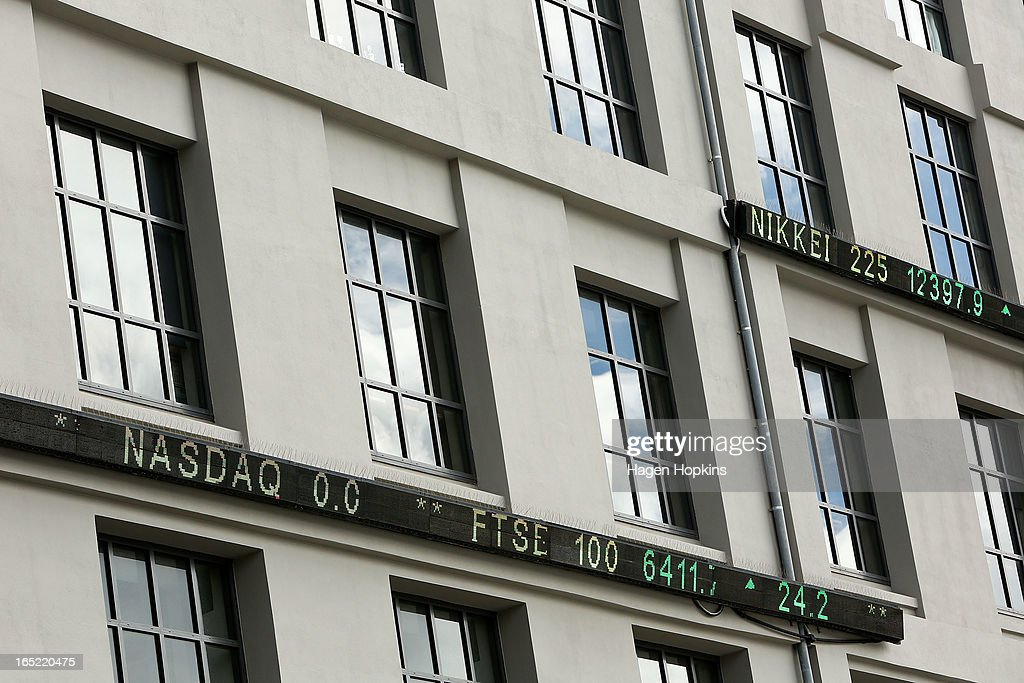 A general view of digital signage on the New Zealand Stock Exchange building on March 30, 2013 in Wellington, New Zealand.