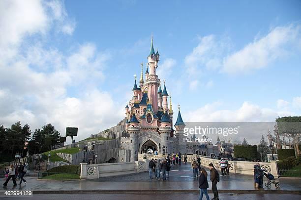 A general view of Disneyland Paris on January 16 2014 in Paris France