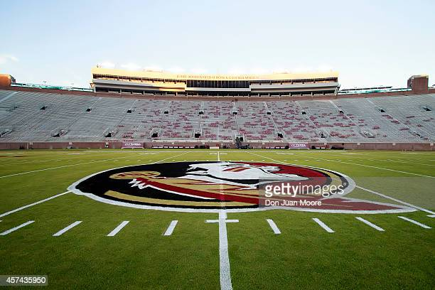A general view of Doak Campbell Stadium with the new FSU logo the night before the ranked Florida State Seminoles host the ranked Notre Dame Fighting...