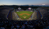 A general view of Dodger Stadium at sunset during the game between the Los Angeles Angels of Anaheim and Los Angeles Dodgers on August 5 2014 at...