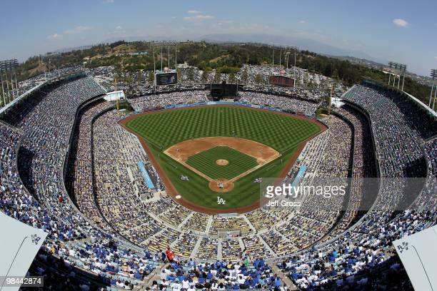 A general view of Dodger Stadium is seen during the first pitch of the game between the Arizona Diamondbacks and the Los Angeles Dodgers on April 13...