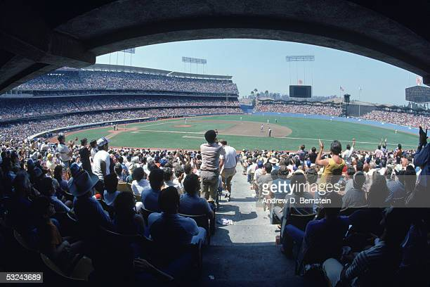 A general view of Dodger Stadium taken during a 1985 season game in Los Angeles California