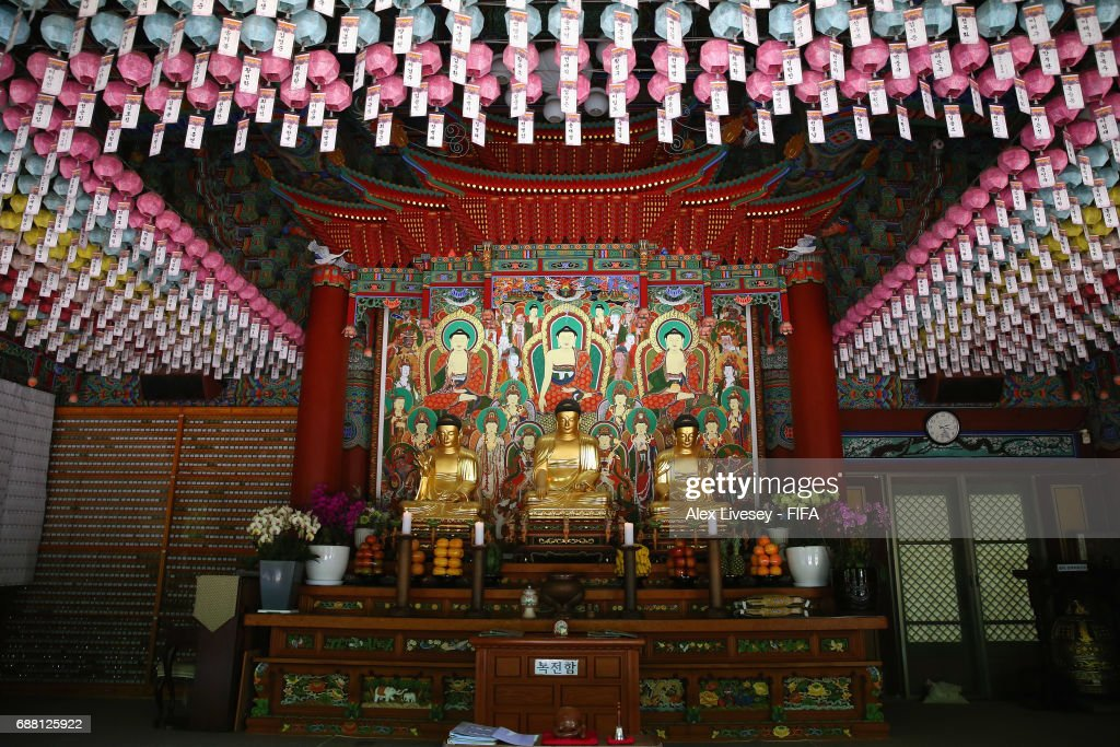 A general view of Donghaksa Temple is seen in the east valley of Gyeryongsan Mountain at Gongju during the FIFA U-20 World Cup on May 25, 2017 in Daejeon, South Korea. The temple is the first and oldest existing academic institute for female monks.
