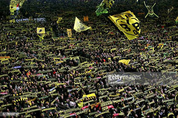 A general view of Dortmund fans during the Bundesliga match between Borussia Dortmund and 1899 Hoffenheim at Signal Iduna Park on February 28 2016 in...