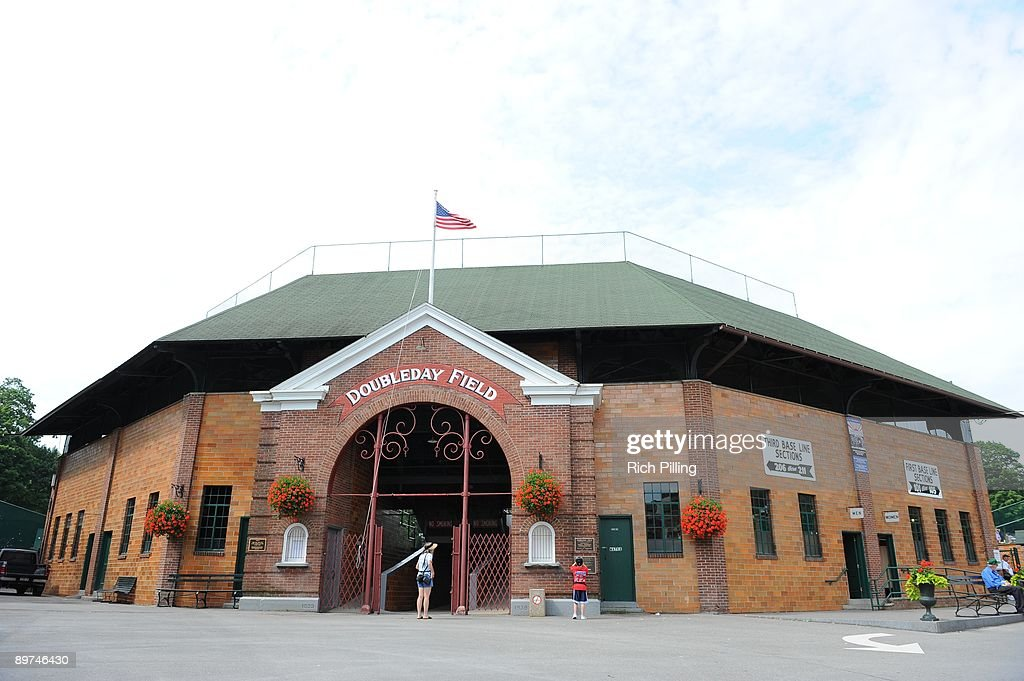 A general view of Doubleday Field prior to the Baseball Hall of Fame Induction ceremonies at the Clark Sports Center in Cooperstown New York on...