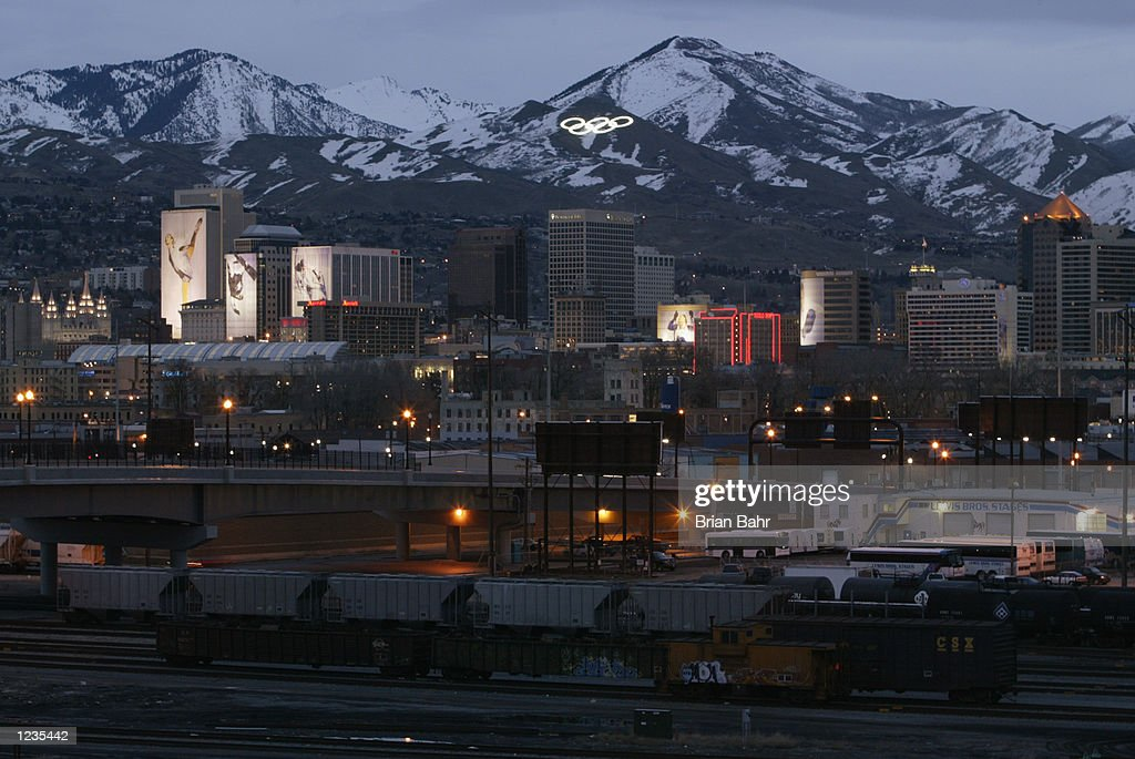 A general view of downtown Salt Lake City at dusk during the Salt Lake Winter Olympics on February 23 2002 in Salt Lake City Utah