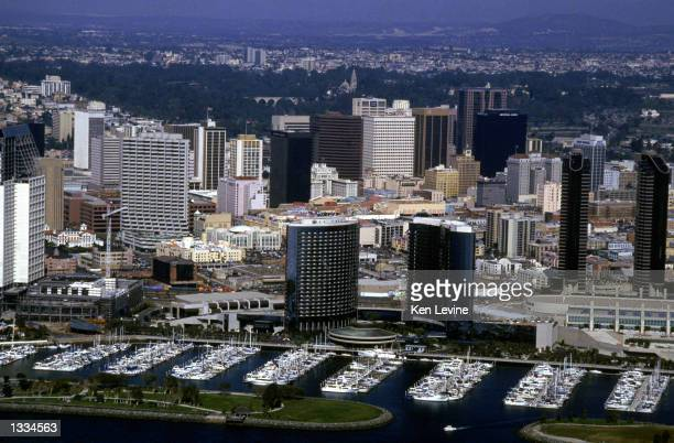 General view of downtown San Diego the host city for the 1992 America's Cup class world championships shot on February 20 1992