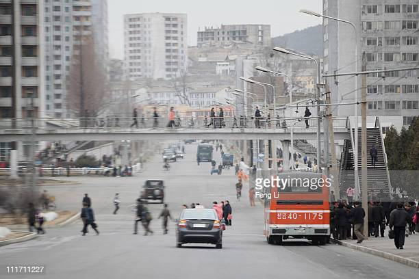 A general view of downtown street on April 2 2011 in Pyongyang North Korea Pyongyang is the capital city of North Korea and the population is about...