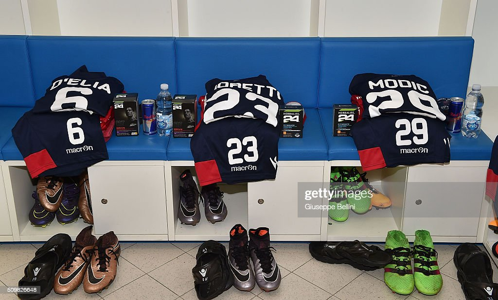 A general view of dressing room of Vicenza Calcio prior the Serie B match between Pescara Calcio and Vicenza Calcio at Adriatico Stadium on February 12, 2016 in Pescara, Italy.