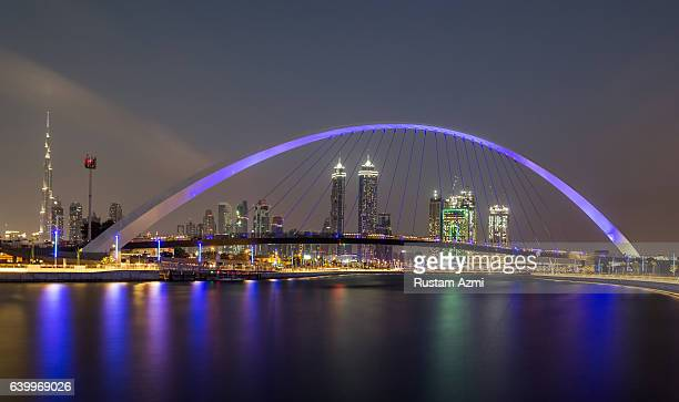 A general view of Dubai Canal at night on December 09 2016 in Dubai United Arab Emirates