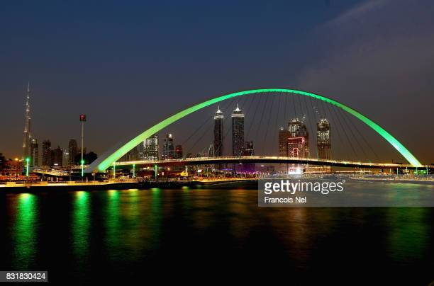 A general view of Dubai Water Canal on August 15 2017 in Dubai United Arab Emirates