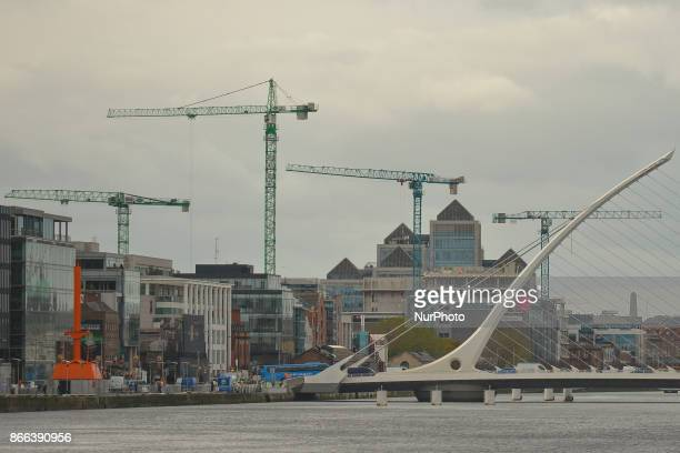 A general view of Dublin's city center with Ulster Bank HQ and Samuel Becket bridge cranes over a construction site On Wednesday 25 October 2017 in...