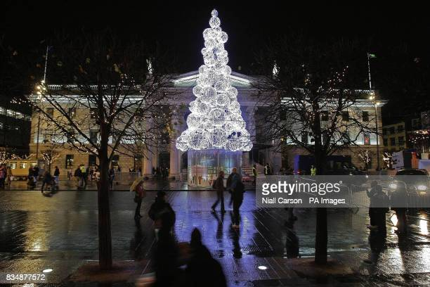 A general view of Dublin's new Christmas Tree which has been switched on three weeks early this year in a bid to generate city centre trade in the...