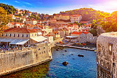 The General view of Dubrovnik - Fortresses Lovrijenac and Bokar seen from south old walls at sunset. Croatia. South Dalmatia.