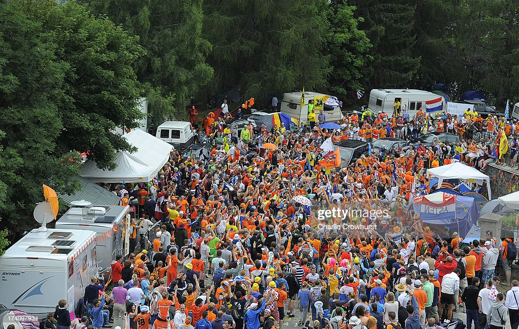 A general view of Dutch corner as the spectators hold up traffic during stage eighteen of the 2013 Tour de France, a 172.5KM road stage from Gap to l'Alpe d'Huez, on July 18, 2013 in Alpe d'Huez, France.