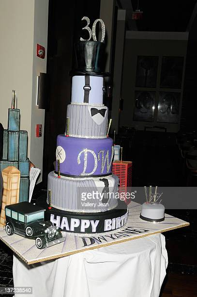 General view of Dwyane Wade 30th Birthday 5 layer top hat Chocolate cake at Setai Hotel on January 15 2012 in Miami Beach Florida