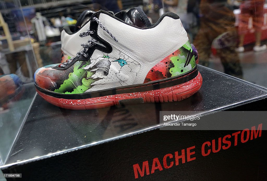 General view of Dwyane Wade's personal game worn Li-Ning sneaker collection at SneakerCon at Bank United Center on June 29, 2013 in Miami, Florida.