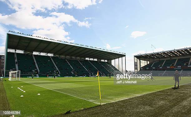 A general view of Easter Road Stadium before the Clydesdale Bank Scottish Premier League match between Hibernian and Rangers on August 22 2010 in...