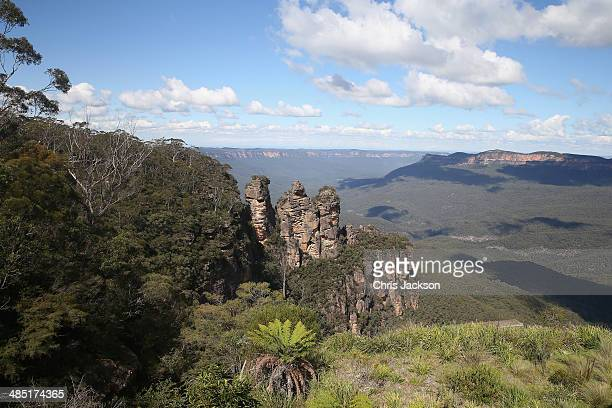 A general view of Echo Point with The Three Sisters in the Blue Mountains on April 17 2014 in Katoomba Australia The Duke and Duchess of Cambridge...