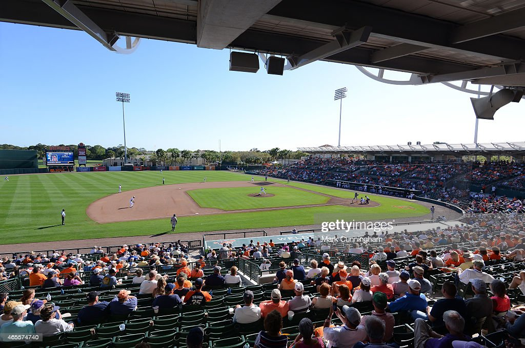 A general view of Ed Smith Stadium as fans watch the Spring Training game between the Detroit Tigers and the Baltimore Orioles at Ed Smith Stadium on...