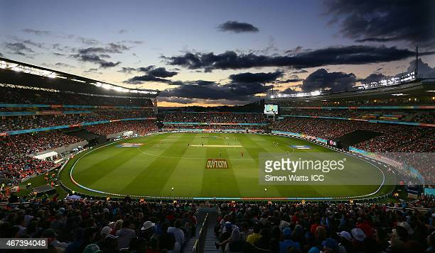A general view of Eden Park during the 2015 Cricket World Cup Semi Final match between New Zealand and South Africa at Eden Park on March 24 2015 in...