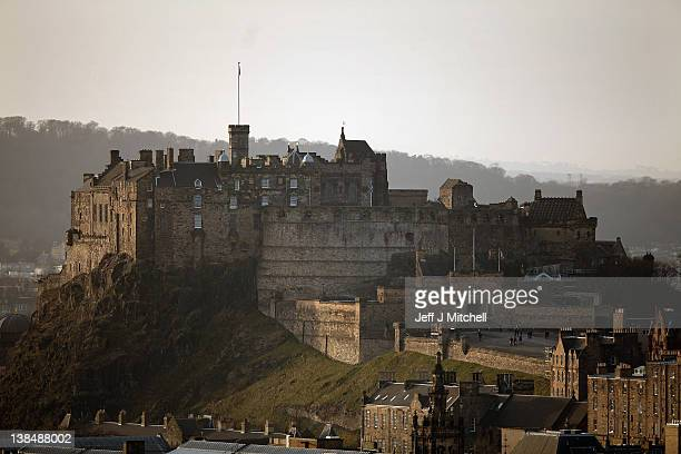 A general view of Edinburgh Castle on February 7 2012 in Edinburgh Scotland The castle dominates the city skyline was built on top of an extinct...