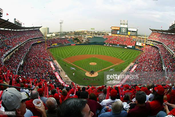 General view of Edison Field during game one of the World Series San Francisco Giants against the Anaheim Angels on October 19 2002 at Edison Field...