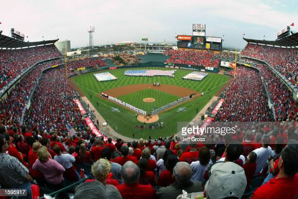 General view of Edison Field during opening ceremonies prior to game one of the World Series San Francisco Giants against the Anaheim Angels on...