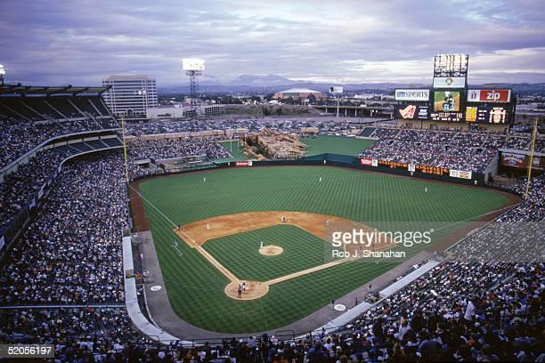 A general view of Edison Field taken in 1998 during an Anaheim Angels season game in Anaheim California