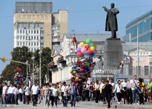 General view of Ekaterinburg city celebrating their 294th anniversary during a media tour of Russia 2018 FIFA World Cup venues on August 19 2017 in...