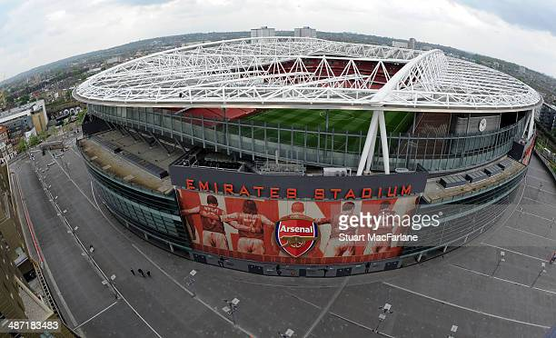 A general view of Emirates Stadium before the Barclays Premier League match between Arsenal and Newcastle United on April 28 2014 in London England