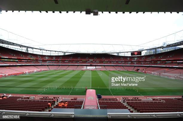 A general view of Emirates Stadium before the Premier League match between Arsenal and Everton on May 21 2017 in London England