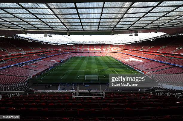 A general view of Emirates stadium before the UEFA Champions League match between Arsenal and Bayern Munchen on October 20 2015 in London United...