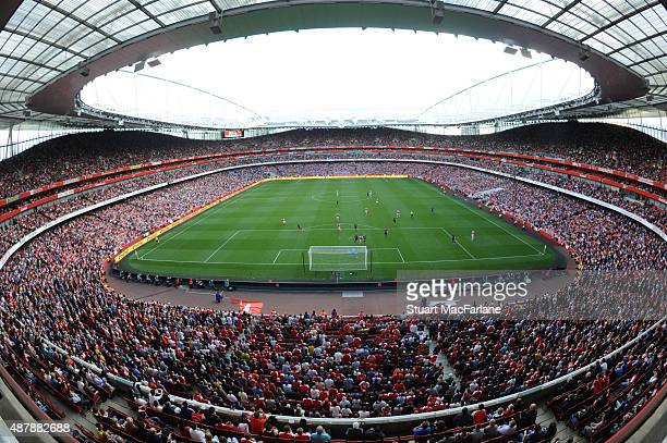 A general view of Emirates Stadium during the Barclays Premier League match between Arsenal and Stoke City on September 12 2015 in London United...